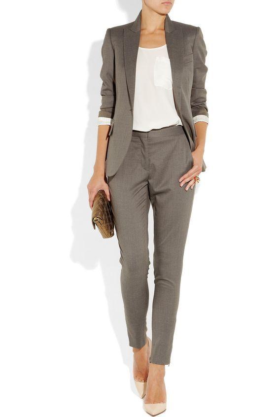 2021 Ofis Kombinleri Bayan Takim Elbise Gri Pantolon Ve Ceket Spor Takim Sik Kadin Modasi Takim Elbise Pantolon