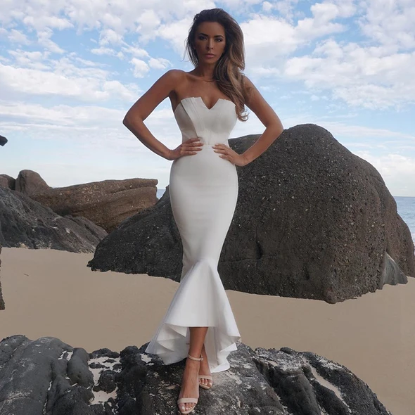 Bild von Hot Lady Elegant Strapless White Mermaid Bandage Bodycon Womens D