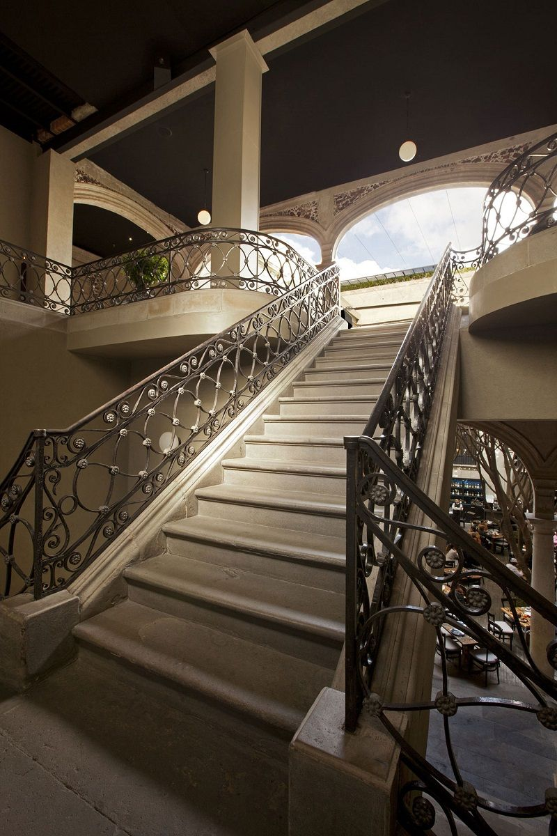 Hotels, Vintage Stairs Down Town Hotel In Mexico With White Interior Color  Decorating Ideas Plus Iron Railings Staircase Design: Downtown Mexico As A  ...