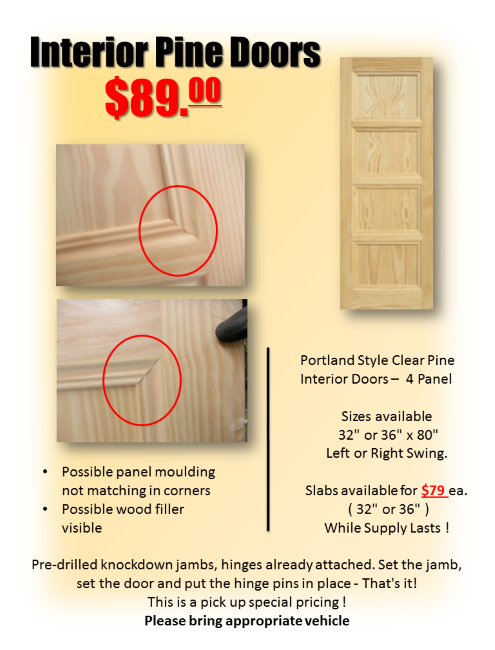 Cabinetry Clearance Pine Interior Doors Building Materials Panel Moulding