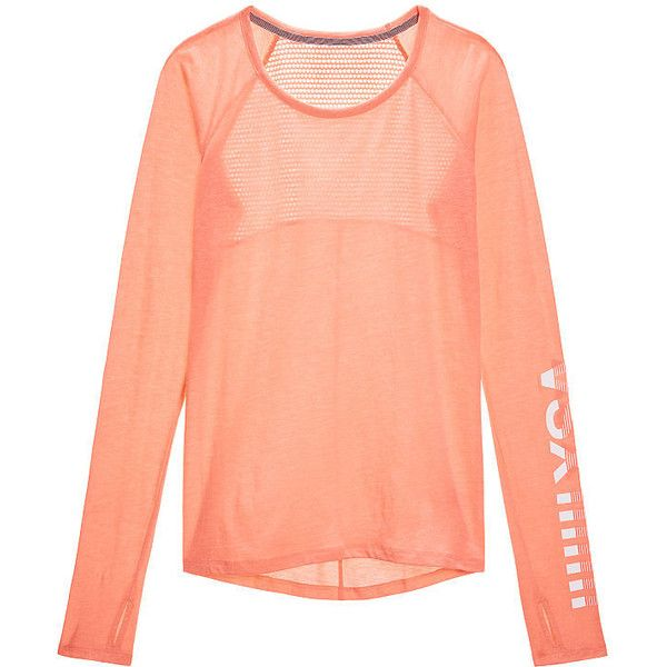Victoria's Secret Mesh-back Long-sleeve Tee ($37) ❤ liked on Polyvore featuring activewear, activewear tops, victoria secret activewear, victoria's secret and victoria secret sportswear