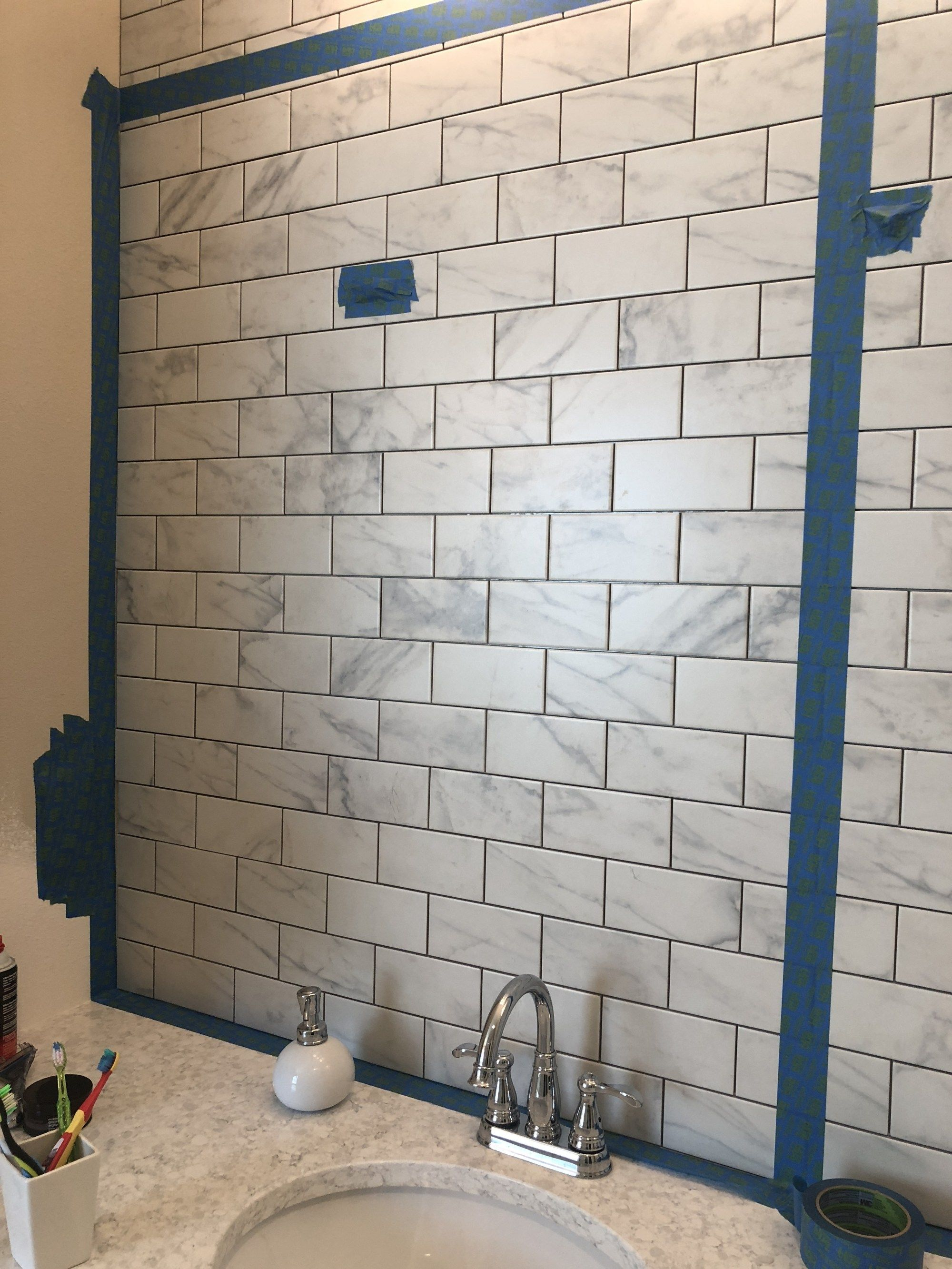 Diy Easy Bathroom Tile Wall Frills And Drills In 2020 Tile Bathroom Bathroom Wall Tile Simple Bathroom