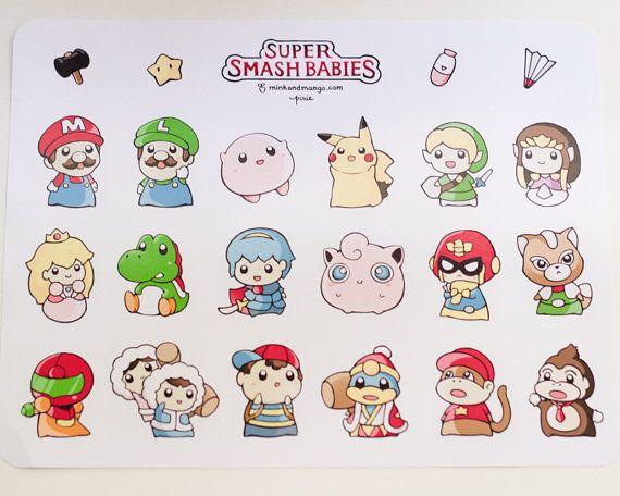 Glossy 8.5 x 11 uncut sticker sheet featuring characters from Super Smash Bros as babies. Includes Mario, Kirby, Luigi, Yoshi, Ness, Pikachu, Samus,