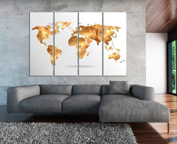 Large Geometric Aquamarine World Map Panels Poster Polygonal Map Abstract Wall Art / or 5 Panels on Canvas Wall Art for Home Decor & Large Geometric World Map Canvas Set Golden by TexelPrintArt | ART ...