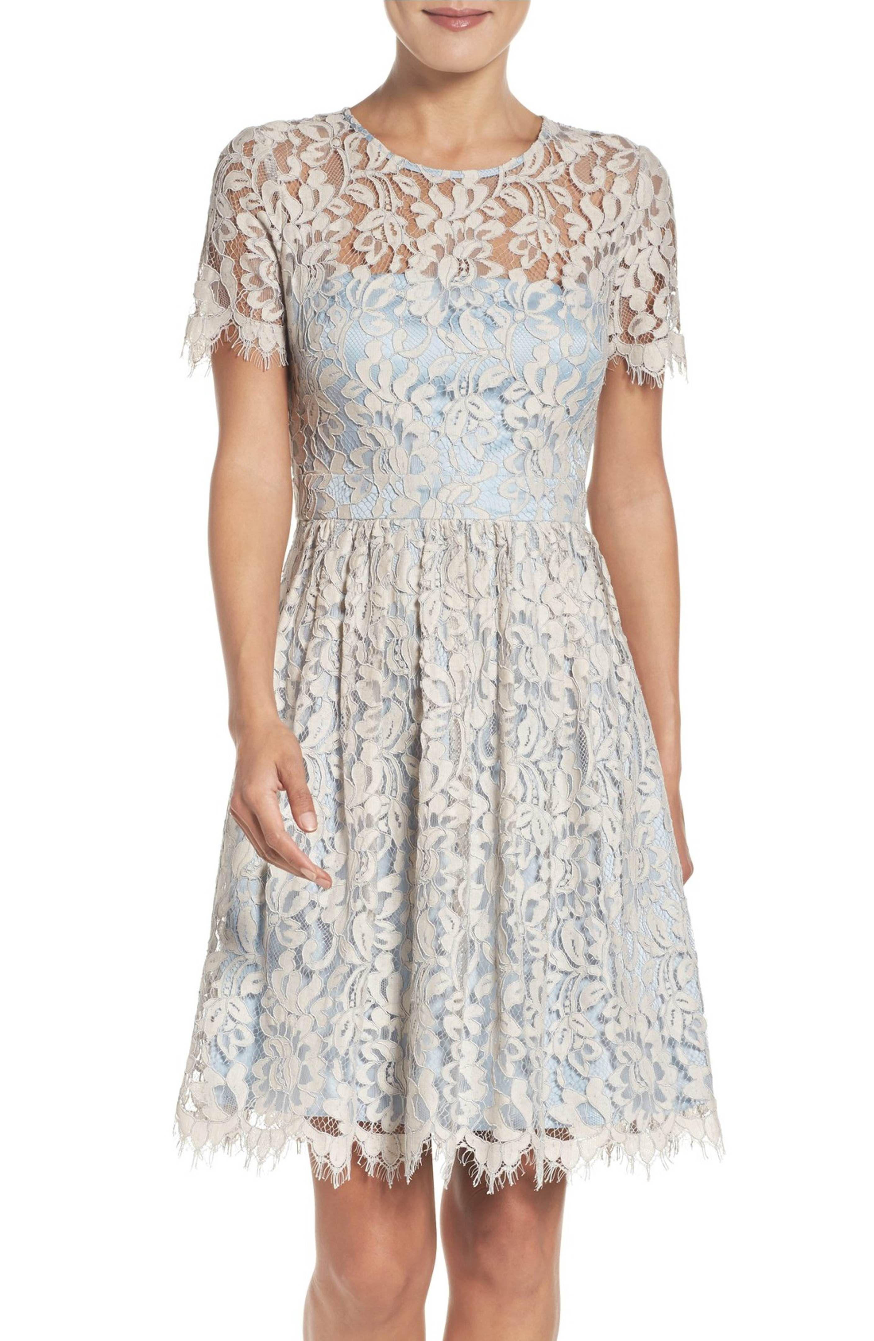 82341787a37 Main Image - Eliza J Lace Fit & Flare Dress (Regular & Petite ...