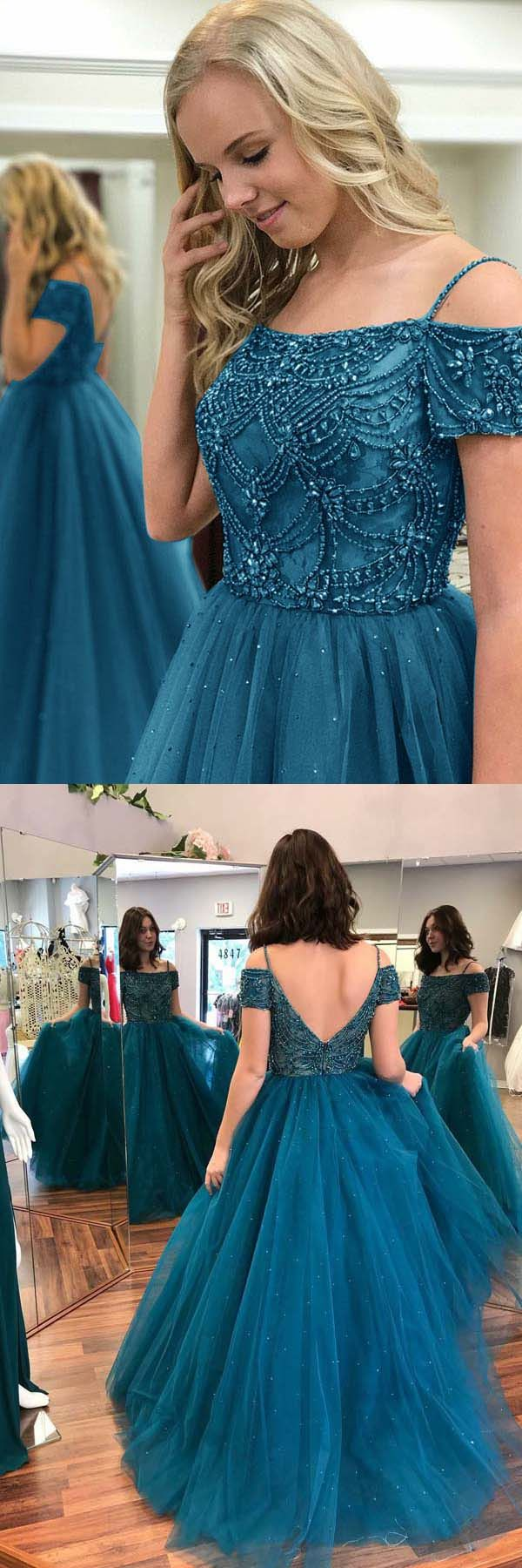 Ball Gown Off-the-Shoulder Dark Blue Tulle Prom Dress with Beading ...