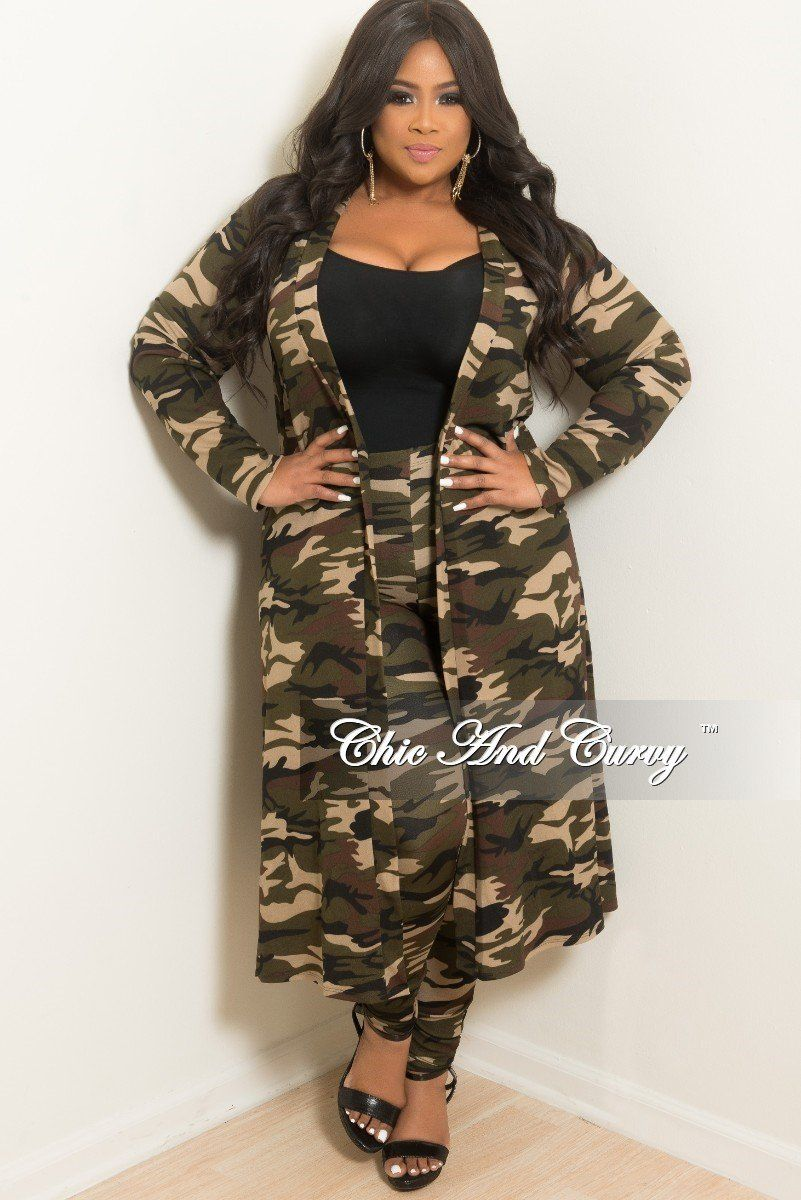 e9865e0604db7 Plus Size 2-Piece Duster and Pants Set in light Camouflage Print – Chic And  Curvy