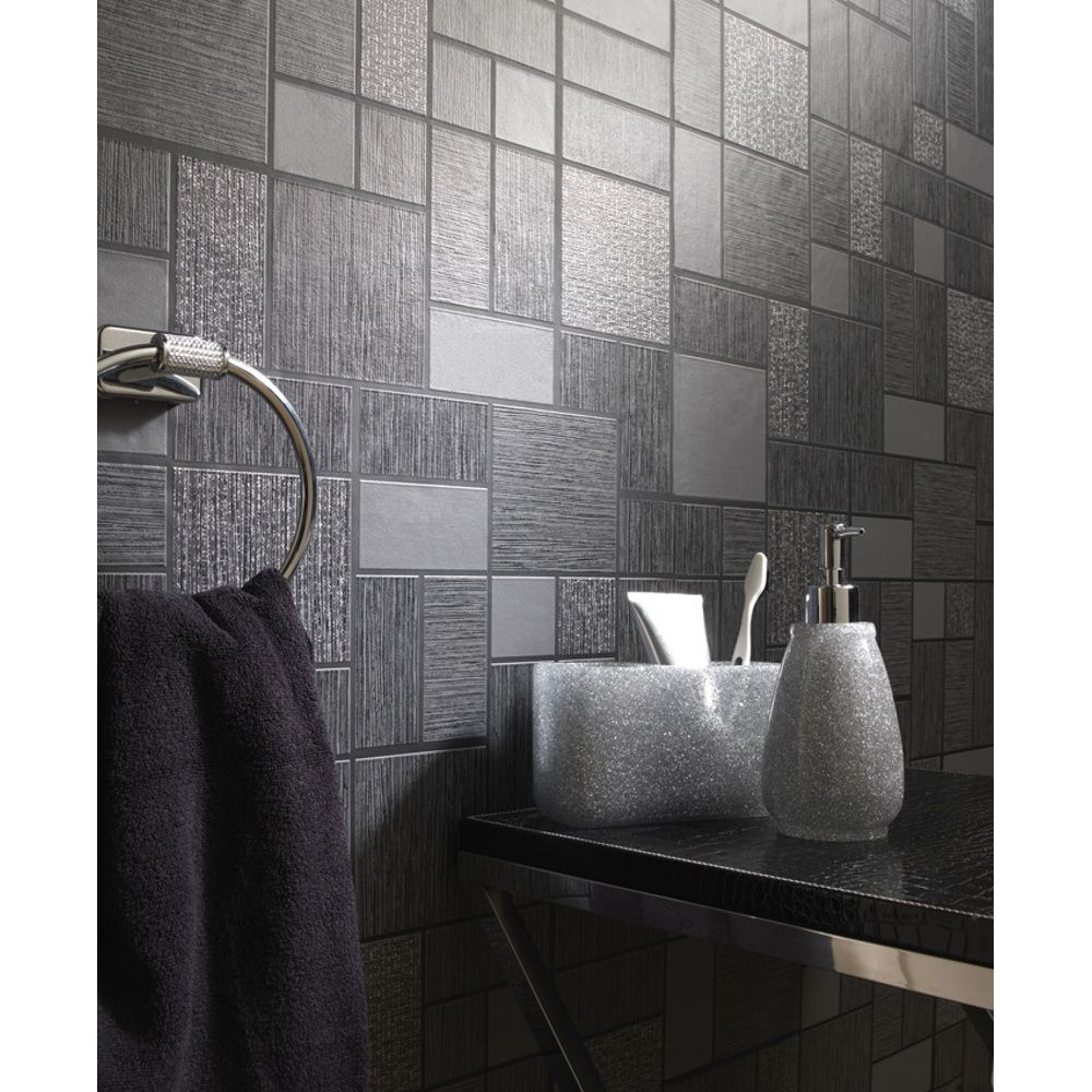 Delightful Holden Décor Tile Pattern Glitter Motif Kitchen Bathroom Vinyl Wallpaper  89240