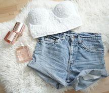 White top & blue shorts <3