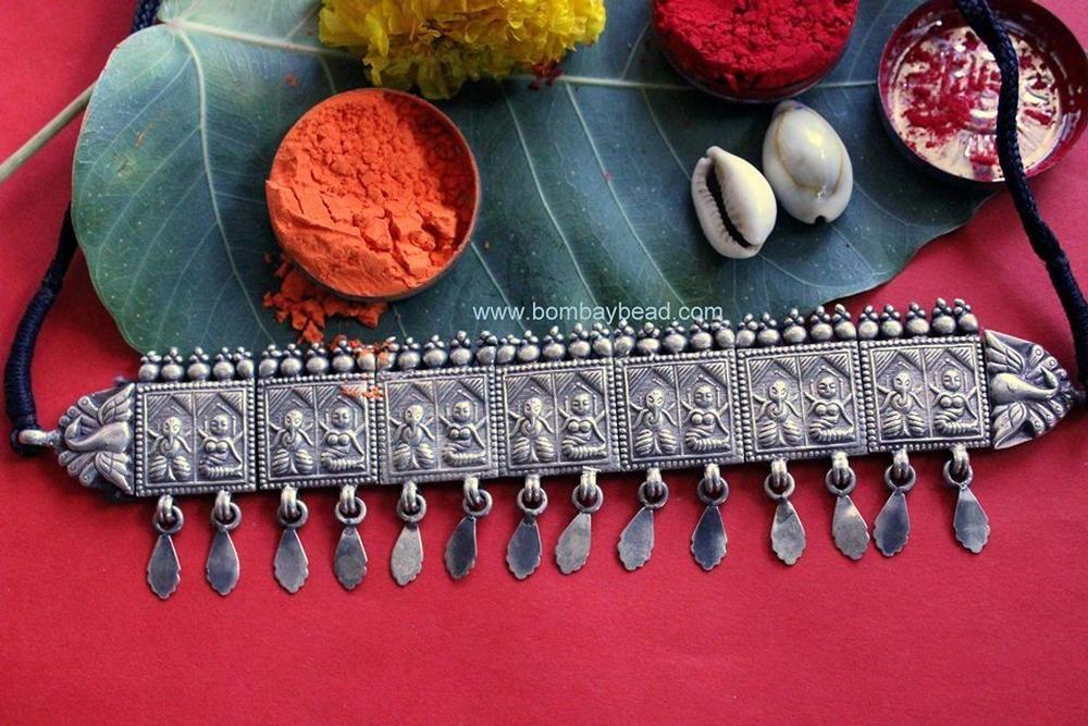Riddhi Siddhi Antique Silver Choker