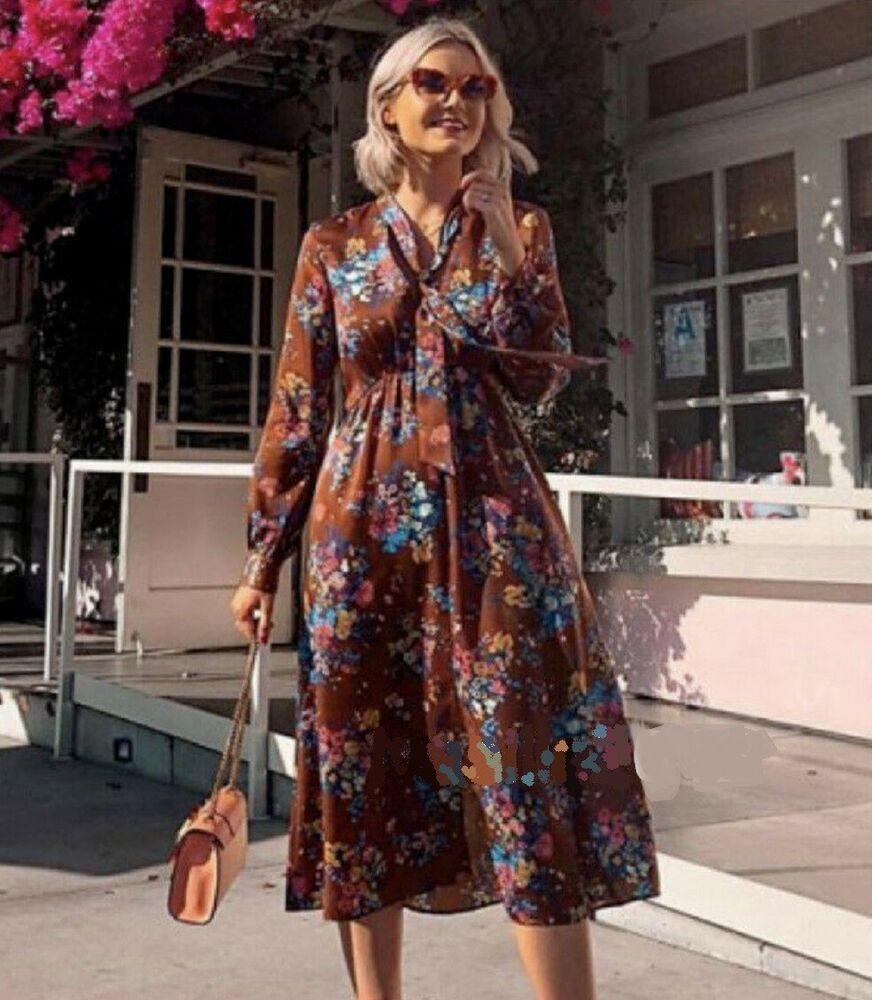 80dd38e1 NWT ZARA Flowy High Collar Floral Print Dress with Bow SIZE ...
