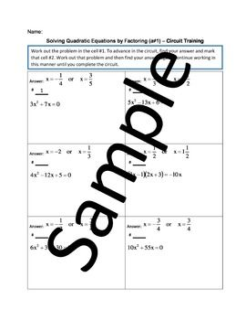 Solving Quadratic Equations By Factoring A 1 Circuit Training