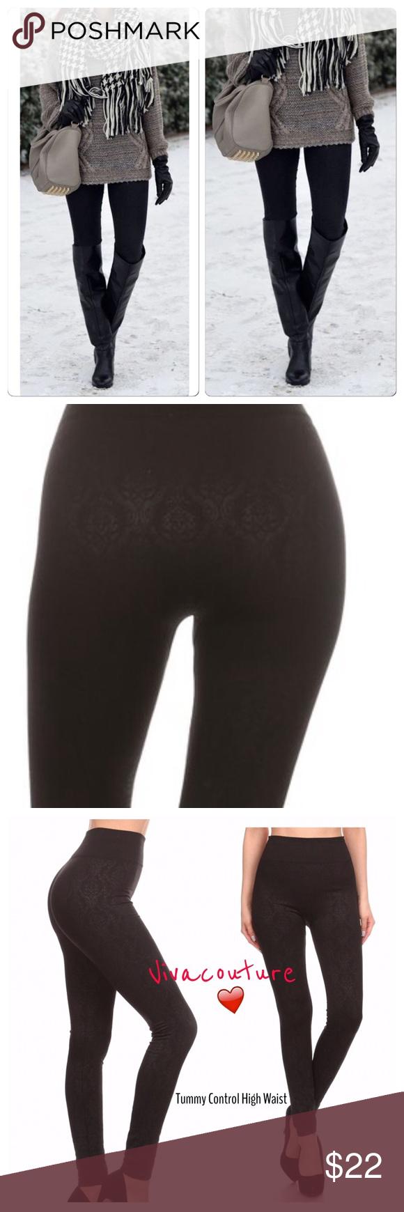 e03ff030034a3d New Black Fleece Lined Leggings Fleece lined textured damask print leggings  high waist nwt osfm will