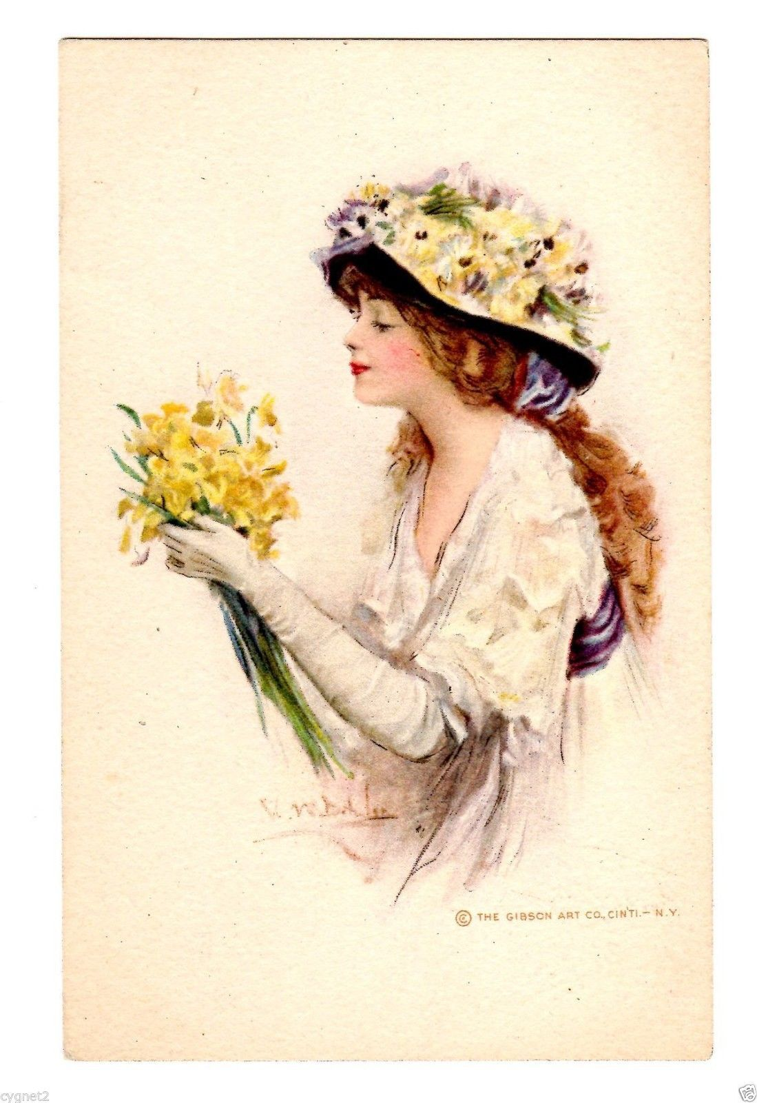 Postcard us woman with daffodils signed cw barber ebay