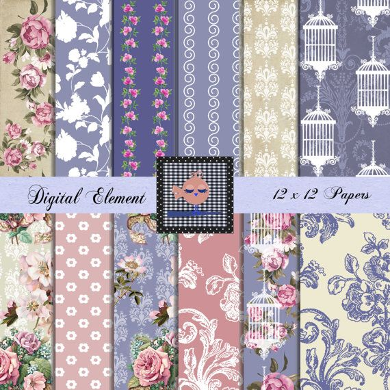 Digital Shabby Pink Paper Shabby Blue Paper by DigitalElement