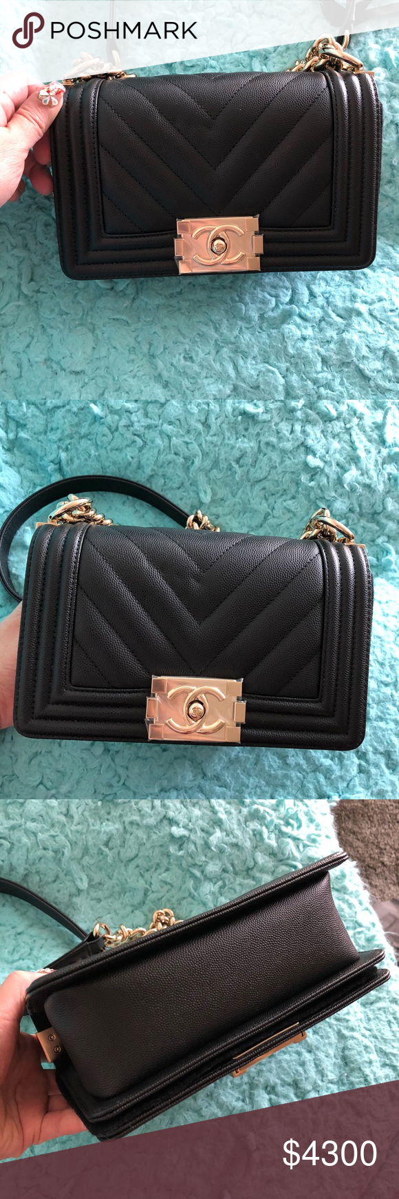 8b97e5aff062 New 💯Chanel 18S Chevron Black With GHW Small boy Brand new ! Comes with  original receipt Dust bag Box Flower Ribbon Care booklet CHANEL Bags  Crossbody Bags