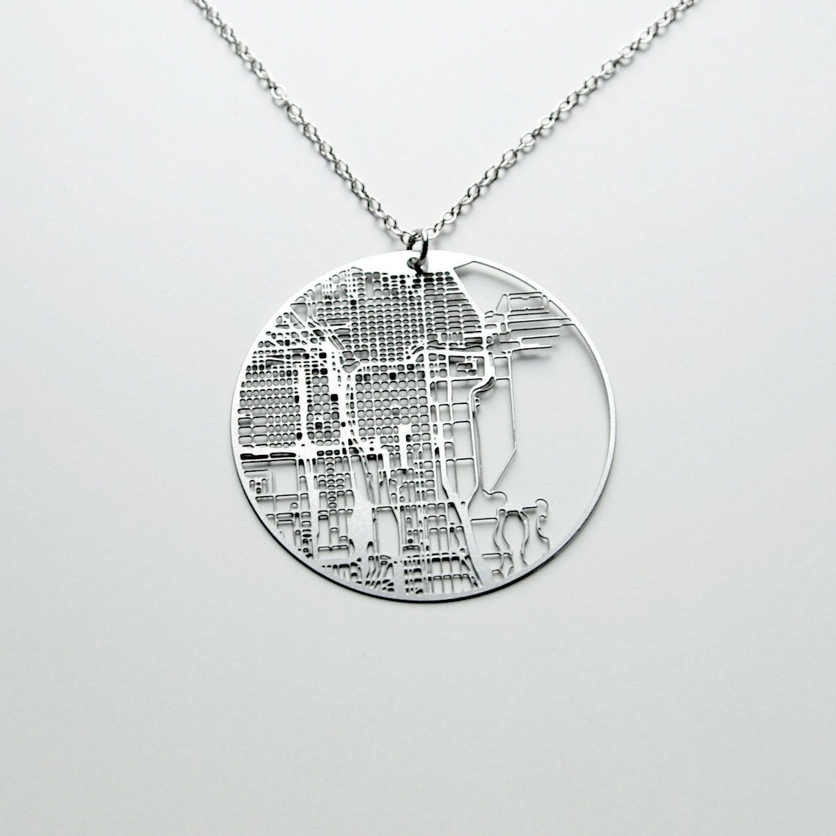 Grid Map Chicago Necklace WANT Style Favs Pinterest - Chicago map necklace
