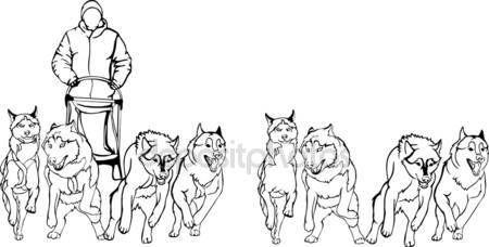 Команда салазок собак, черно - белая версия — стоковая ...