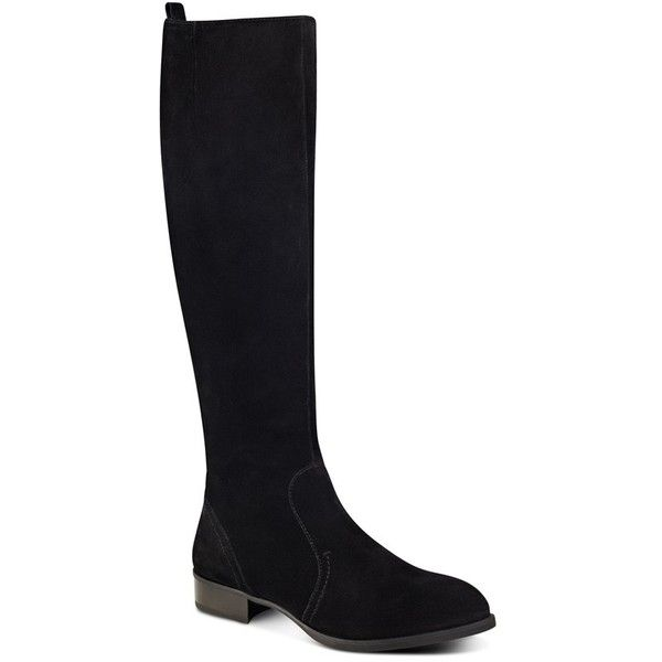 Women's Nine West 'Nicolah' Tall Boot (£140) ❤ liked on Polyvore featuring shoes, boots, black suede, black suede boots, nine west boots, suede boots, black suede knee high boots and stretch boots