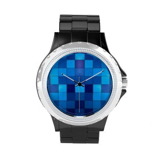 Blue Tiles Rhinestone Watch