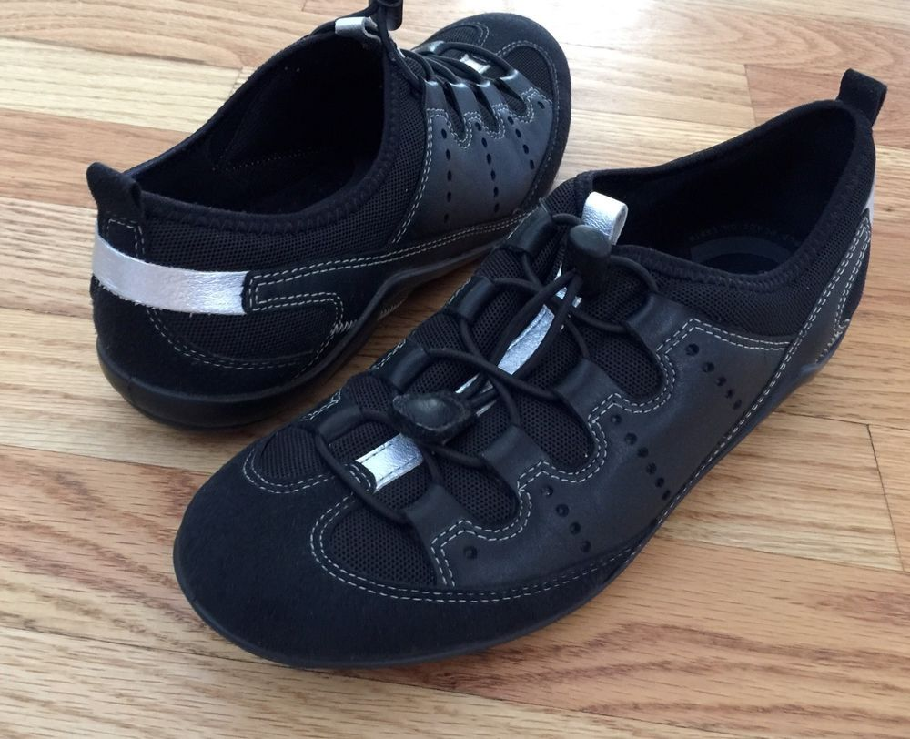 ECCO Black 37 / US 6-6.5 Vibration II Shoes Leather & Mesh Toggle Sneaker