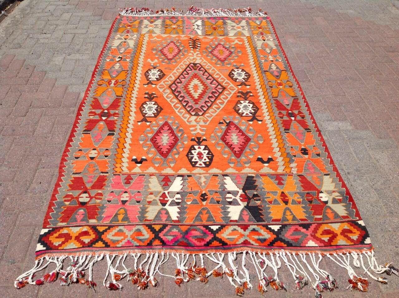 Vintage Orange Kilim Rug 112 X 62 Etsy Orange Kilim Colorful Area Rug Turkish Kilim Rugs