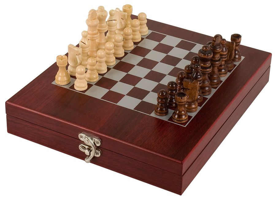 Travel Engraved Personalised Wooden Octagon Chess Game Board Set Magnetic