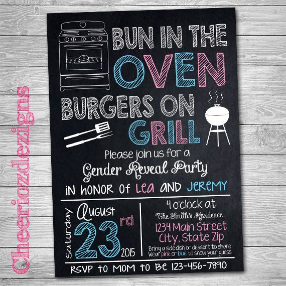 bun in the oven burgers on the grill gender by cheeriozdezigns, Baby shower invitations