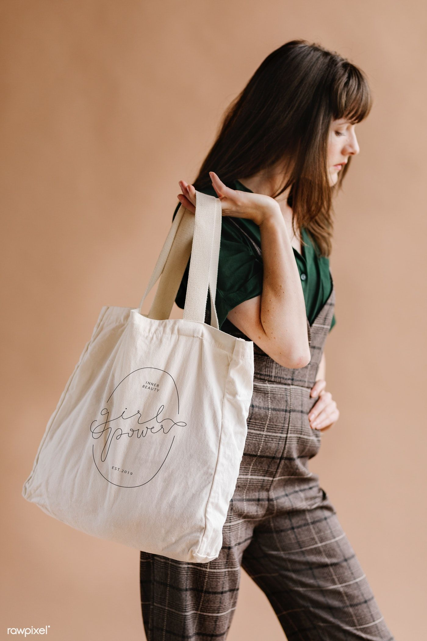 Download Download Premium Psd Of Woman With A Tote Bag Mockup 1235591 Brown Tote Bag Bag Mockup Real Leather Bags