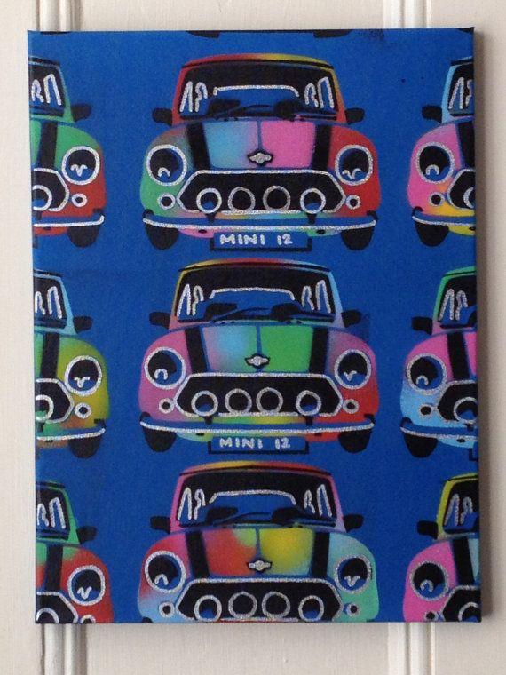 Mini pop art painting spray paint art kids 60s cars colours hippy