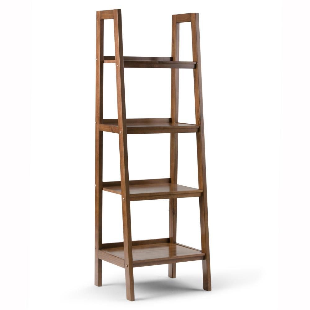 Simpli Home Sawhorse Solid Wood 72 In X 24 In Modern Industrial Ladder Shelf In Medium Saddle Brown 3axcsaw 05 Ladder Shelf Wood Ladder Shelf Ladder Bookcase