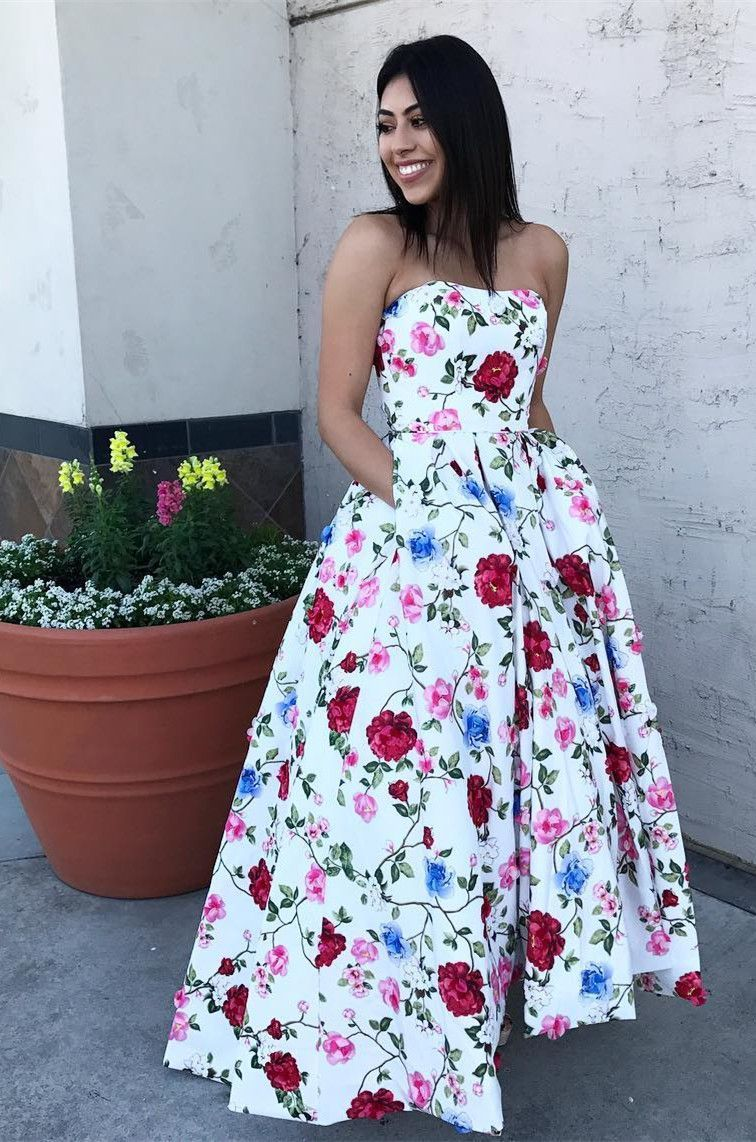 floral long prom dress strapless long prom dress ball gown