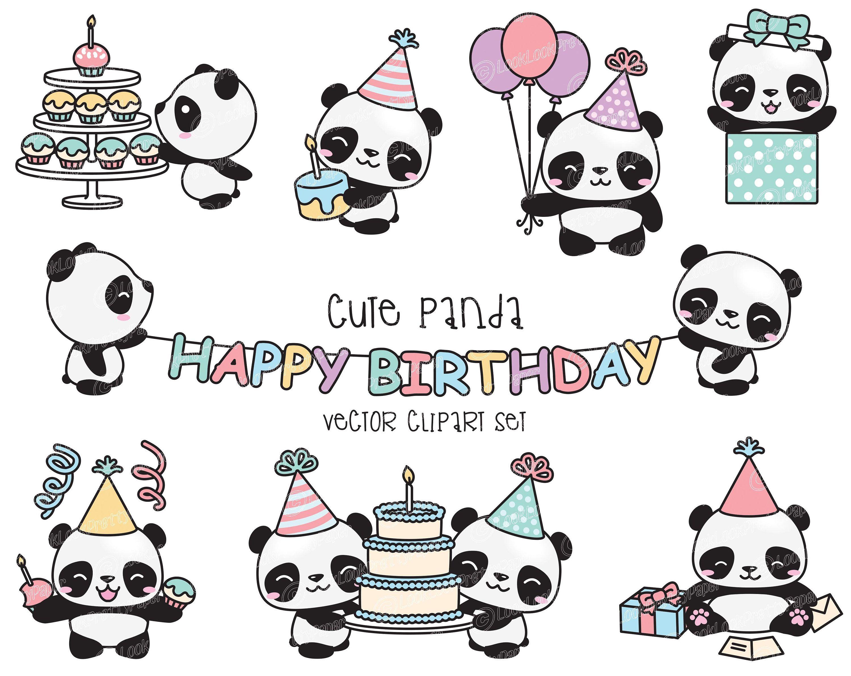 Premium Vector Clipart Kawaii Birthday Pandas Cute Etsy In 2021 Birthday Clipart Clip Art Kawaii Panda