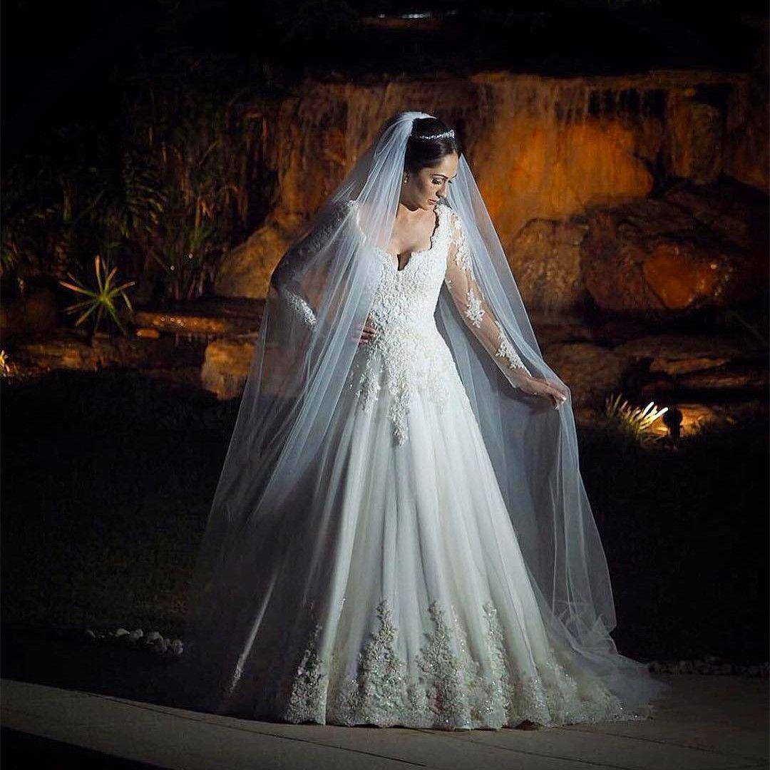 Long sleeves wedding gownsprincess wedding dresslace wedding dress