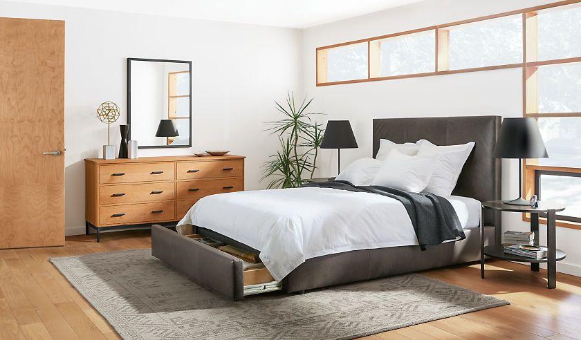 Wyatt Upholstered Storage Bed - Wyatt Bed with Storage Drawer ...