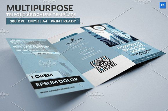 Multipurpose Trifold Brochure by WonderShop on @creativemarket