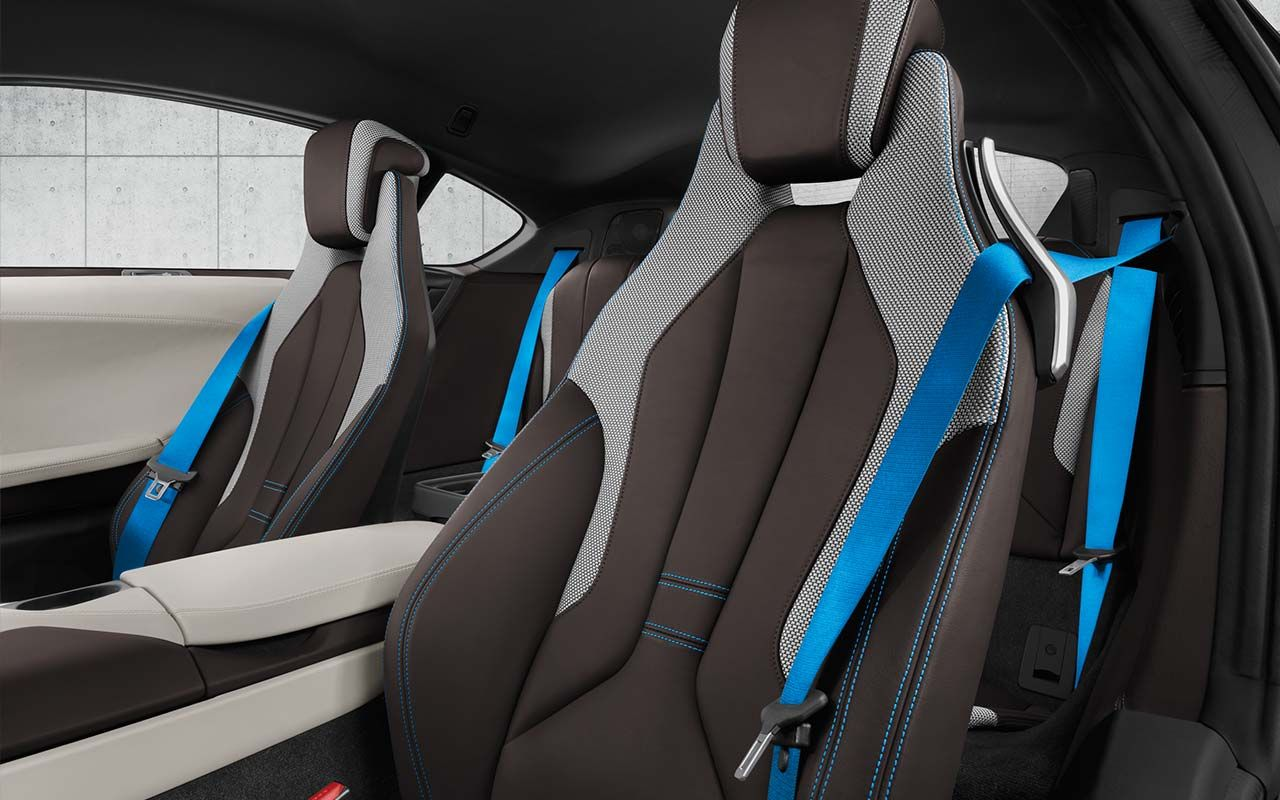 The Bmw I8 Interior Featuring Dalbergia Brown Leather With Textile