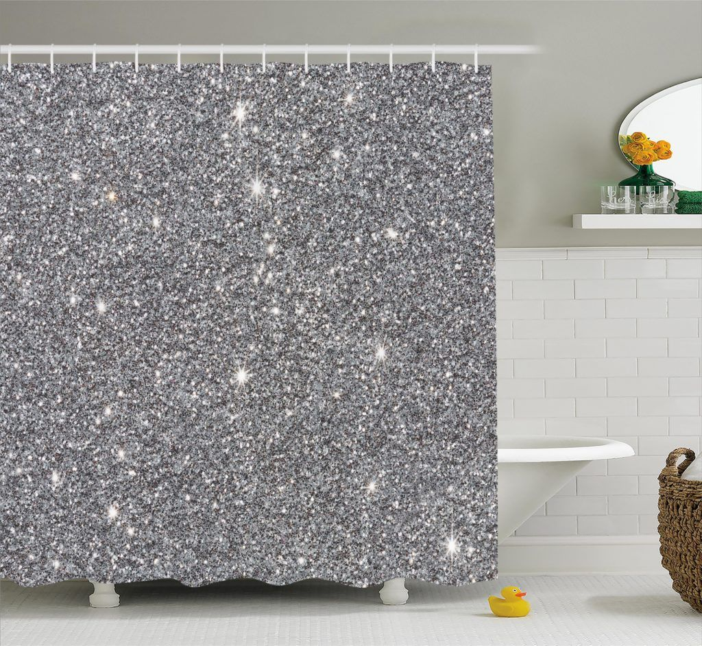Luxurious Silver Sequin Silver Shower Curtain Shower Curtain