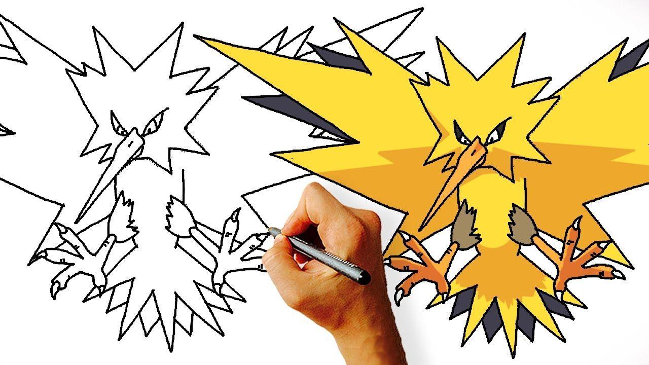 How To Draw Zapdos Step By Step Legendary Pokemon Pokemon Drawings Zapdos Pokemon Drawings