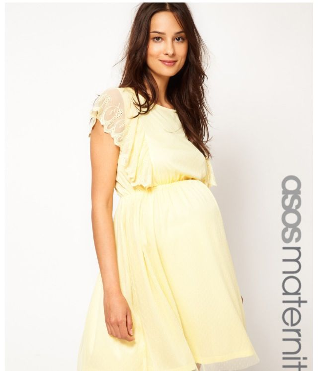 Pink and yellow maternity dress