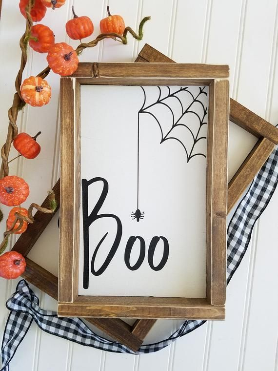 READY TO SHIP Boo Halloween Wood Sign | Halloween Sign | Fall Decor | Fall Wood Sign | Boo with Spider Sign | Halloween Spider Sign