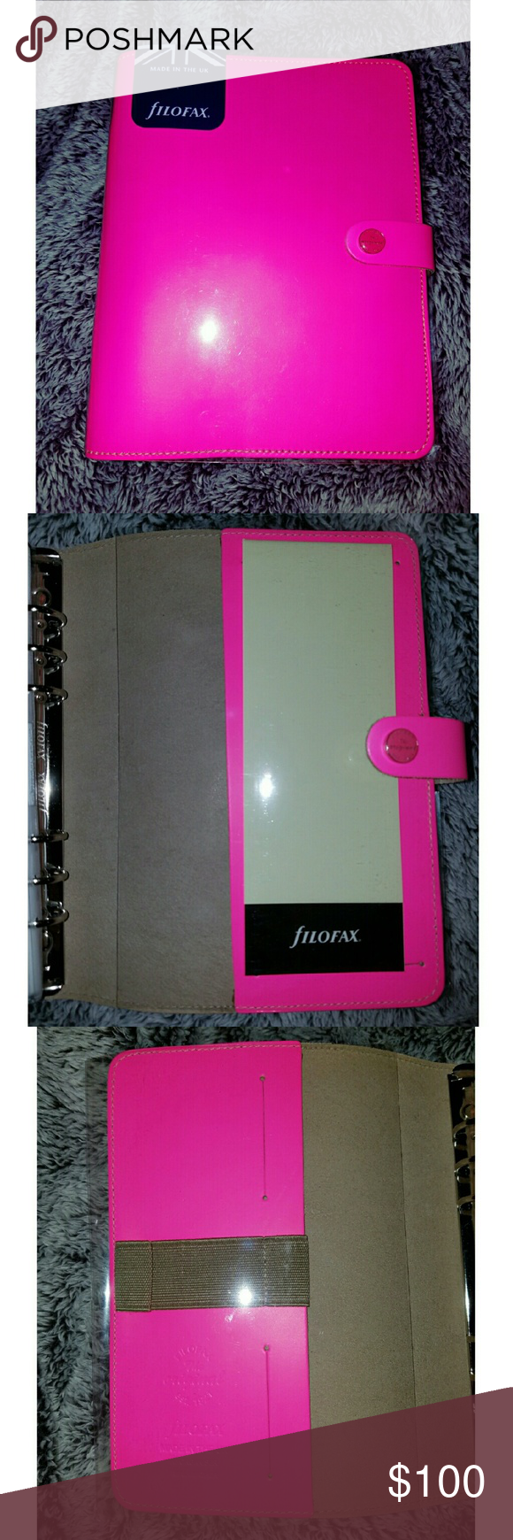 Like New Filofax Fluoro Pink A5 Planner I'm selling this A5 Filofax planner The Original, it is hard to find and basically new...it has not been taken out of its plastic covering since I've purchased it. It was very lightly used and never taken out of my house!   However it does NOT come with any planner pages for the 2016 or 2017 year. But I will leave some pink and white lined pages.    Thanks for looking!  :) Filofax  Other