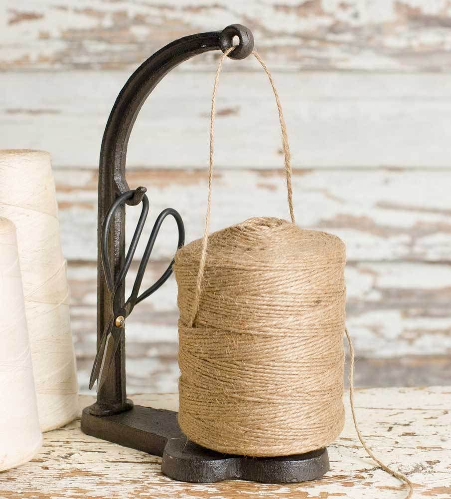 String and Shears Set Twine Caddy Stand with Scissors Rustic Country Style