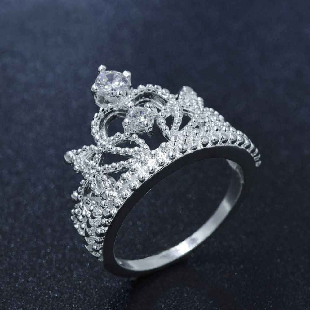 European Silver Plated Romantic Princess Crown Ring Design For Women  Wedding Party Rings Jewelry 963f959f5cf8