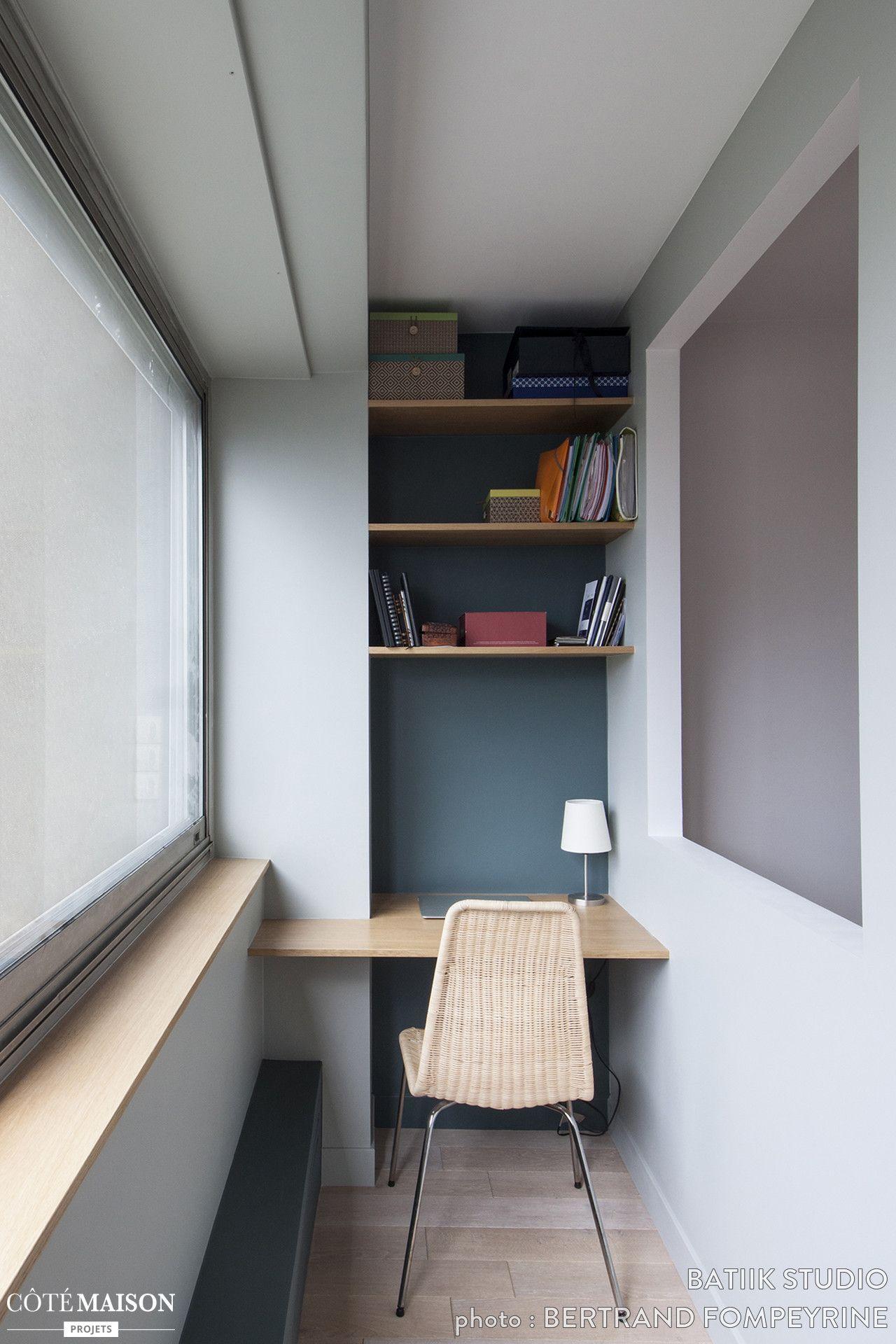 un coin bureau en longueur gain de place souhait maison de r ve par c t maison. Black Bedroom Furniture Sets. Home Design Ideas