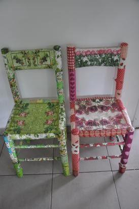 Charming Silla Reciclada En Decoupage Para Comedor O Dormitorios Tonos Rosas