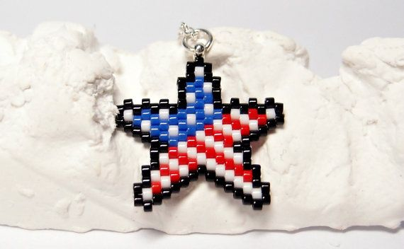 American Flag Star Necklace Patriotic Jewelry Red by BeadCrumbs