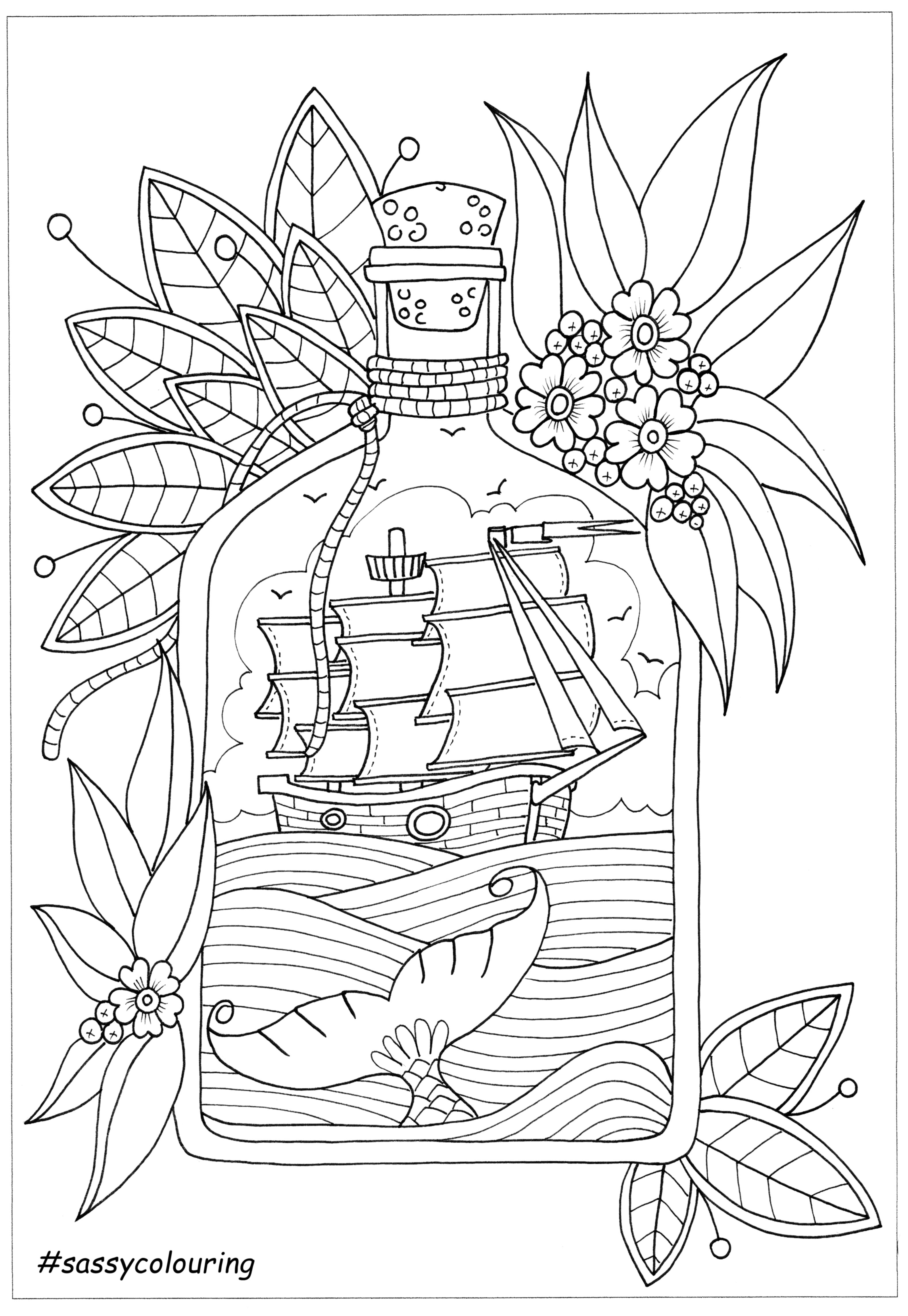 This Was A Free Page Offered By Sassy Colouring It Is Called Ship In A Bottle Check The Sassy Website And Fac Coloring Pages Coloring Books Doodle Coloring
