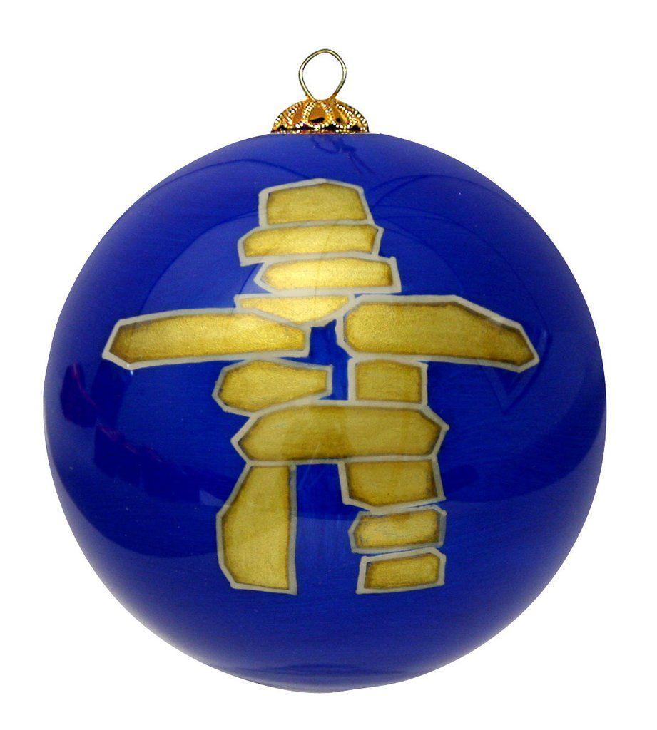 Inukshuk Glass Ornament - Blue