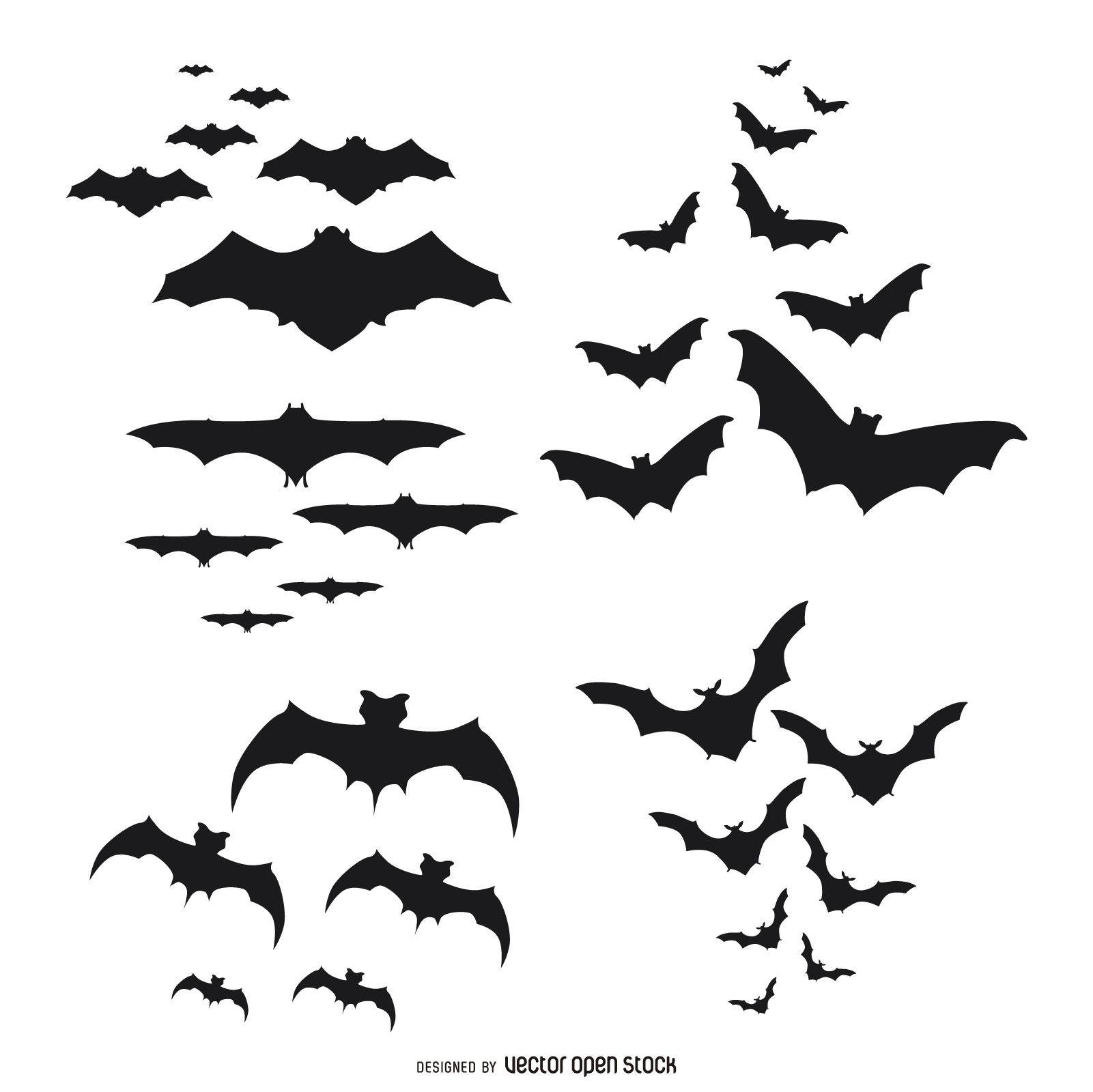 Set Of Bat Silhouettes Flying Each Set Comes In A Different Style And Includes Bat Silhouette Halloween Silhouettes Halloween Outdoor Decorations